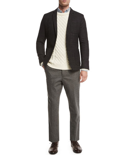 Cable-Knit Wool Crewneck Sweater, Brushed Flannel Button-Down Oxford & Carrot Slim-Fit Trousers