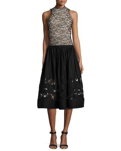 Emery Lace Mock-Neck Top & Tamia Lace-Trim Midi Skirt