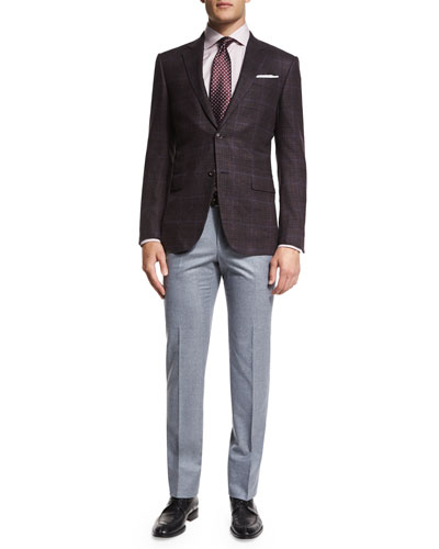 Trofeo Plaid Two-Button Jacket, Dress Shirt, Tie & Flat-Front Flannel Trousers