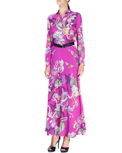 Floral Menagerie Long-Sleeve Silk Blouse & Floral Menagerie Silk Maxi Skirt