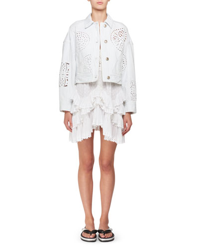 Embroidered Cutout Button-Front Jacket and Matching Items