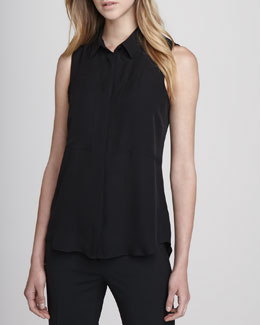Theory Duria Sleeveless Silk Blouse, Black