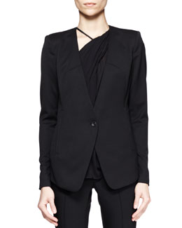 Smoking Wool Single-Button Blazer