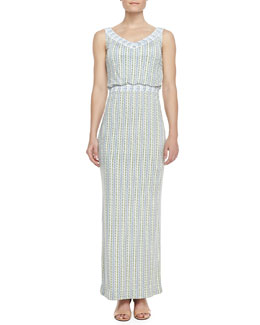 Tory Burch Micky Silk Mixed-Design Maxi Dress