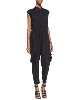 Alice + Olivia Dylan Jersey Cargo Jumpsuit