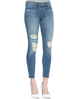 J Brand Jeans 8226 Destructed Fury Cropped Mid-Rise Jeans