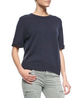 J Brand Jeans Audrey Cashmere Short-Sleeve Sweater