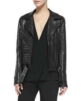 A.L.C. Night Studded Leather Moto Jacket