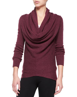 Vince Waffle-Knit Sweater with Draped Front, Maroon