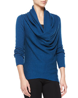 Vince Waffle-Knit Sweater with Draped Front, Tanzanite