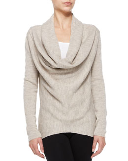 Vince Waffle-Knit Sweater with Draped Front, Almondine