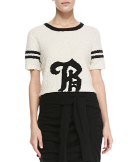 "Band of Outsiders Knit Short-Sleeved ""B"" Top"