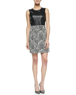 Milly Sleeveless Zebra-Print Leather-Top Dress