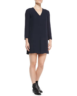 Theory Trenta Double-Georgette Long-Sleeve Dress