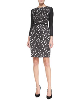 Band of Outsiders Silk-Blend Printed Long-Sleeve Dress