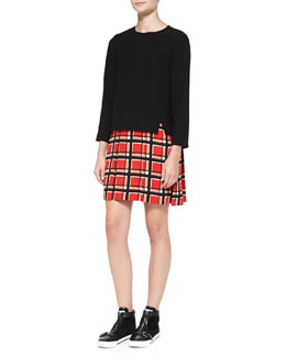 MARC by Marc Jacobs Toto Long-Sleeve Plaid-Skirt Dress