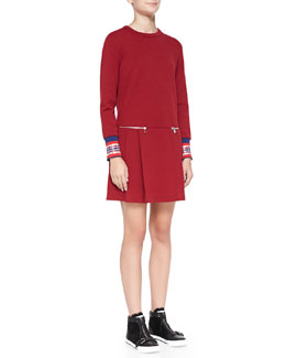 MARC by Marc Jacobs Jayden Long-Sleeve Dress with Plaid Cuffs
