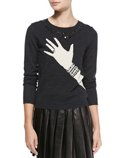 Alice + Olivia Hand-with-Ring Sweater