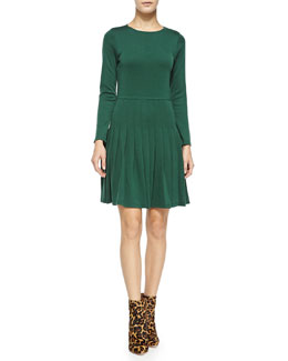 Alice + Olivia Hue Long-Sleeve Dress W/ Pleated Skirt