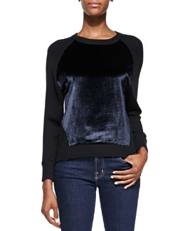 J Brand Ready to Wear Erin Contrasting-Front Pullover Sweater