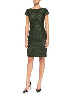 Tory Burch Mariana Satin/Jacquard Fitted Dress