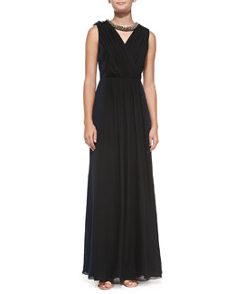 Tory Burch Meryl Pleated Silk Gown