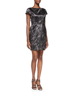 Alice + Olivia Trudy Printed Metallic Pleated Dress