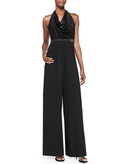 Alice + Olivia Draped Metallic Wide-Leg Jumpsuit