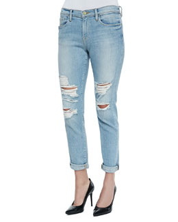 FRAME Le Garcon Distressed Rolled-Cuffs Jeans, Lucielle