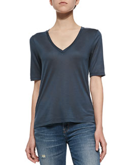 J Brand Ready to Wear Eluise Short-Sleeve V-Neck Tee