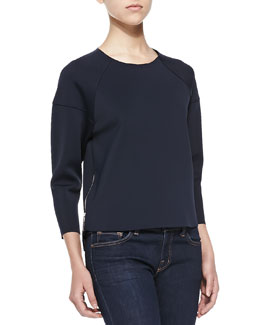 J Brand Ready to Wear Lumley 3/4-Sleeve Scuba Top W/ Zips