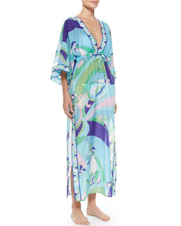 Emilio Pucci Bell-Sleeve Printed Caftan Coverup