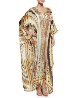 Emilio Pucci Printed V-Neck Long Caftan Coverup, Yellow Sun