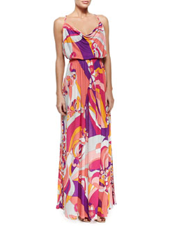 Emilio Pucci Printed Sleeveless Jersey Maxi Dress