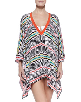 Missoni Wavy-Pattern Knit Poncho Coverup
