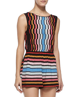 Missoni Tuta Shimmery Striped Knit Short Jumpsuit