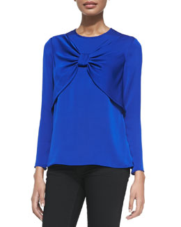 Milly Bow-Front Stretch-Silk Top