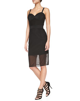 Milly Sheer Stretch-Mesh Corset Dress