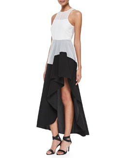 Theory Dolie Colorblock High-Low Maxi Dress