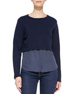 Elie Tahari Cashmere Lacy Cropped Sweater