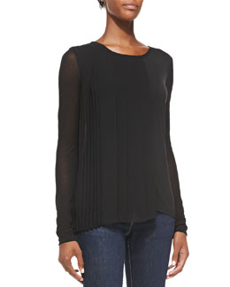 Elie Tahari Luca Long-Sleeve Blouse w/ Pleated Side