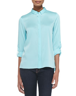 Elie Tahari Elaine Long-Sleeve Stretch-Silk Blouse