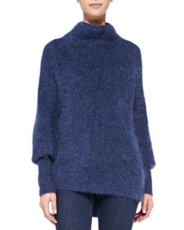 Elie Tahari Dorene Mock-Neck Cape-Sleeve Sweater