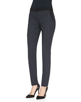 Elie Tahari Alanis Plaid Ankle Pants, Navy