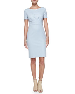 Elie Tahari Kathleen Short-Sleeve Diagonal-Pleat Dress