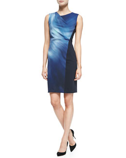 Elie Tahari Amymarie Sleeveless Swirl-Front Dress