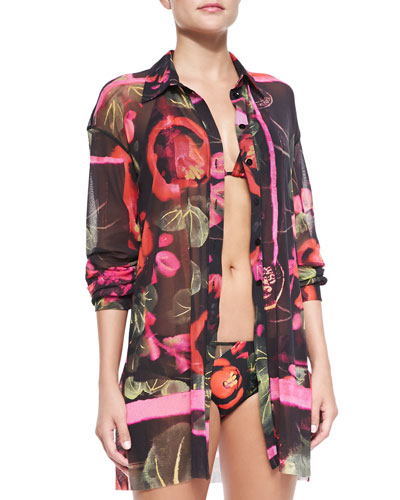 Floral-Print Sheer Coverup Blouse