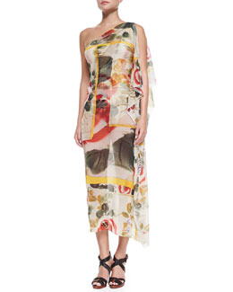Jean Paul Gaultier One-Shoulder Sheer Printed Coverup