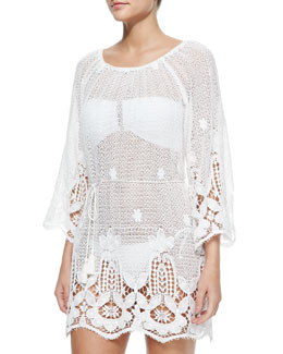 Miguelina Bridgette Lace-Hem Cotton Coverup