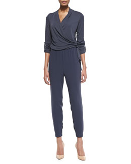 Elie Tahari Gally Crepe Wrap-Front Side-Tie Jumpsuit